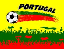 Portugal flag colors with soccer ball and Portuguese supporters vector illustration