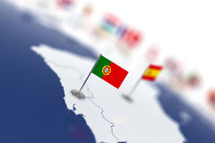 Portugal flag in the focus. Europe map with countries flags Stock Image