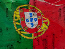 Portugal Flag On Grunge Wall Background Stock Photos