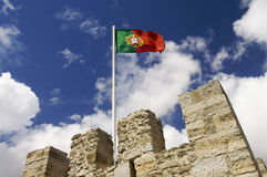 Portugal flag on a mast. Located on a tower of the castle of St. George; Lisboa Stock Photography