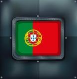 Portugal flag on metalic background Royalty Free Stock Photos