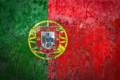 Portugal Flag painted on a Wall. Ddistressed Painting of a Flag on an old Wall Stock Photos
