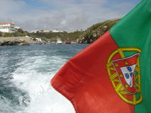 Portugal flag on the sea Royalty Free Stock Photography