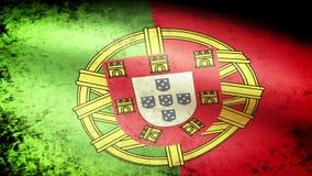 Portugal Flag Waving, grunge look vector illustration