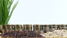 Portugal flag waving with stack of money coins and piles of wheat. And rice seeds stock video