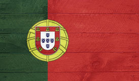 Portugal flag on wood boards with nails Royalty Free Stock Photography