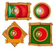 Portugal flagga på runda- och fyrkantemblem stock illustrationer