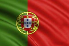 Portugal flagga som blåser i vinden fönster för textur för bakgrundsdetalj trägammalt lisbon 3d tolkning, våg —illustration vektor illustrationer