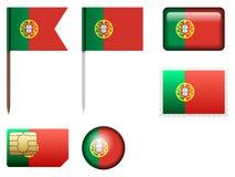 Portugal flaggauppsättning royaltyfri illustrationer