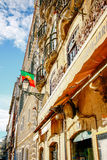 Portugal-Flagge am Café in Lissabon, Portugal Stockfotografie