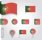Portugal-Flaggenikone Lizenzfreie Stockfotografie