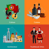 Portugal 2x2 Flat Icons Set. Bright 2x2 flat icons set with traditional portugal attire cuisine culture and architecture on colorful background  vector Royalty Free Stock Photography