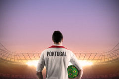 Portugal football player holding ball Stock Photography