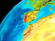 Portugal från utrymme Royaltyfria Bilder