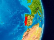 Portugal från utrymme Arkivbilder
