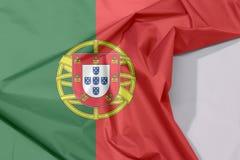 Portugal-Gewebeflaggenkrepp und -falte mit Leerraum lizenzfreies stockfoto