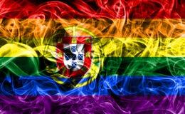 Portugal glad rökflagga, flagga för LGBT Portugal Royaltyfri Fotografi