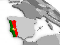 Portugal on globe with flag Royalty Free Stock Image