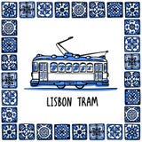 Portugal gränsmärkeuppsättning Lissabon retro spårvagn Traditionell spårväg i ramen av portugisiska tegelplattor, azulejo Handdra royaltyfri illustrationer