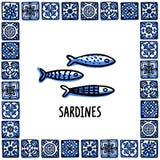 Portugal gränsmärkeuppsättning Ny skaldjur, traditionell läckerhetskaldjur Skaldjur i ramen av portugisiska tegelplattor skissa vektor illustrationer