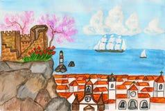 Portugal, het schilderen vector illustratie