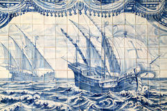 Portugal, historical Azulejo ceramic tiles. Portugal, Lisbon, Important historical blue and white ceramic Azulejo wall tiles depicting a caravela sailing ship Stock Photo