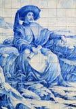 Portugal historiska Azulejo keramiska tegelplattor Royaltyfria Bilder