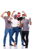 Portugal, Hungary, Iceland, Austria at camera on white background. European football fans concept. Stock Images