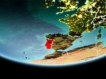 Portugal i rött i aftonen Arkivbilder