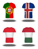 Portugal, Iceland, Asutria, Hungary flags on t-shirt on white background Royalty Free Stock Photography