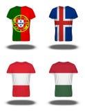 Portugal, IJsland, Asutria, de vlaggen van Hongarije op t-shirt op witte achtergrond Royalty-vrije Stock Fotografie