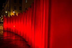 Portugal. Illuminated red structure in the streets of Lisbon Royalty Free Stock Photos