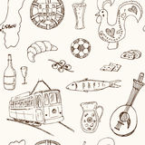 Portugal isolated elements and symbols. Hand drawn vector seamless pattern Royalty Free Stock Image