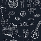 Portugal isolated seamless pattern. Hand drawn vector illustration Royalty Free Stock Photo