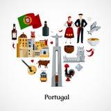 Portugal lägenhetillustration royaltyfri illustrationer