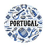 Portugal landmarks set. Handdrawn sketch style vector illustration. Portugal landmarks set. Round shape design with portugal symbols. Handdrawn sketch style vector illustration