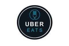Portugal, Lisboa, o 16 de junho de 2018: a ilustração do UBER come o logotipo Uma empresa popular para a entrega do alimento em c Imagens de Stock Royalty Free