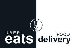 Portugal, Lisboa, o 16 de junho de 2018: a ilustração do UBER come o logotipo Uma empresa popular para a entrega do alimento em c Fotografia de Stock