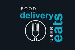 Portugal, Lisboa, o 16 de junho de 2018: a ilustração do UBER come o logotipo Uma empresa popular para a entrega do alimento em c Ilustração Stock
