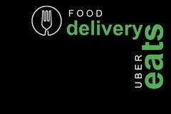 Portugal, Lisboa, o 16 de junho de 2018: a ilustração do UBER come o logotipo Uma empresa popular para a entrega do alimento em c Fotos de Stock