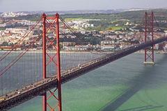 Portugal. Lisbon. The 25th of April Bridge Stock Photos