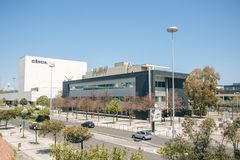 Portugal, Lisbon 29 april 2018: Live science world exhibition and sport tv Portugal television complex or modern. Architecture building royalty free stock photo