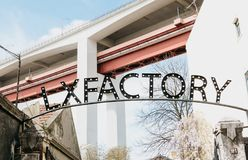 Portugal, Lisbon 29 april 2018: LX Factory or LXF - public platform of creative design and art in Lisbon. Urbanistic Royalty Free Stock Images