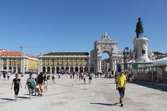 Portugal, Lisbon Commerce Square. Day view on arch city street Stock Photography