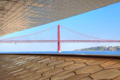 Lisbon, Landmark suspension 25 of April bridge. Portugal, Lisbon, Landmark suspension 25 of April bridge royalty free stock photo