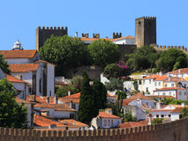 Portugal, Lisbon. Picturesque, medieval town of Obidos. Portugal, Lisbon. Castle battlements in the picturesque, medieval town of Obidos  - an excellent example Royalty Free Stock Photos