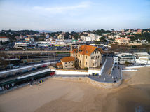 Portugal Lisbon's Coast Estoril beach and fortified mansion Royalty Free Stock Photos