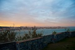 portugal. Lisbon. viewpoint. sky. landscape. river. landscape. sunset stock image
