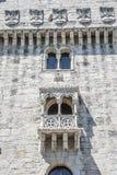 Portugal, Lissabon, ein verstärktes errichtendes Fort auf dem Damm stockfotografie
