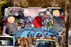 Portugal Lissabon gata, fantastisk grafitti, gatakonst Royaltyfria Foton